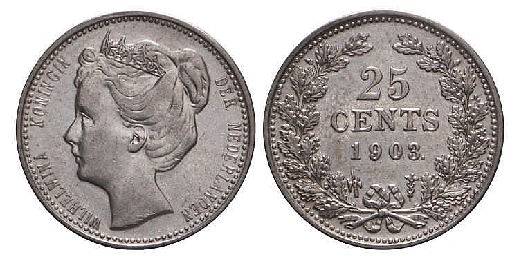 25 Cent Wilhelmina 1903 Prachtig
