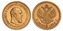 Russia. Alexander III. 5 Rouble. 1889.