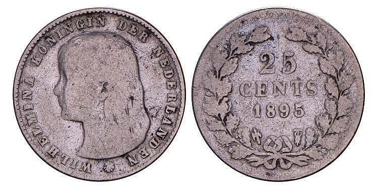 25 Cent Wilhelmina 1895 Schuin Muntmeester Teken Fraai
