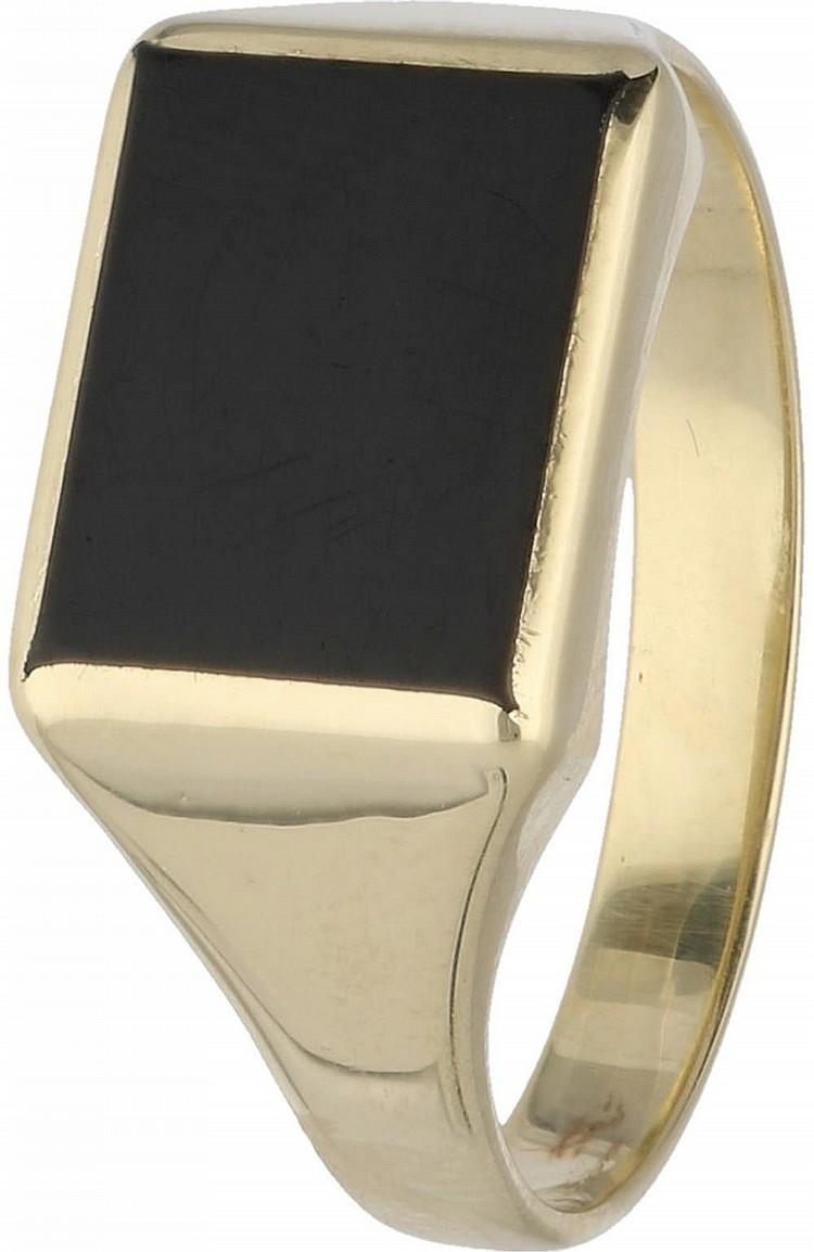 Zegel heren ring geelgoud, met onyx - 14 kt  / Men's seal ri