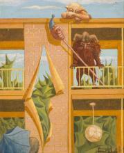 """Frans de Haas (B. Arnhem 1934), """"Balkonscene"""". (On the Balcony)."""