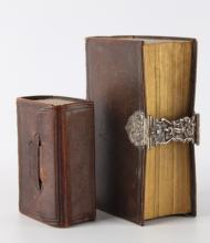 A Bible / Psalm book in brown leather belt with silver buckle, 19th century