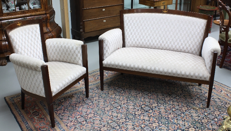 A two seater sofa with two matching arm chairs england 190 for Matching arm chairs