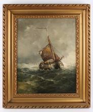 "Mesdag, Taco (Groningen 1829-1902) ""Botter on raw water"","