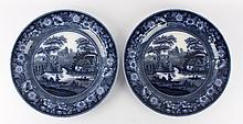 Two earthenware plates with transfer decoration 'Improved Wild Rose, 19th century.