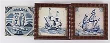 Two different tiles depicting sailing ships, 17th century.