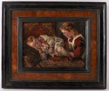 Haaren, by Dirk Johannes (1878-1953) 'Sister looking after her little brother',