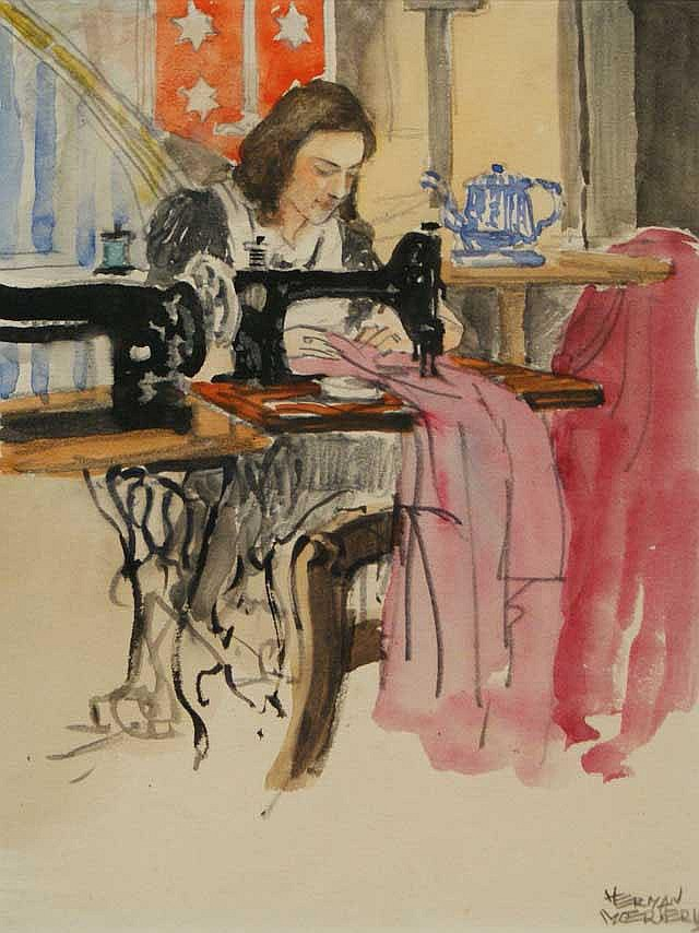 Moerkerk, H. (1879-1949), mixed media, Seamstress,