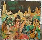 Guy Olivier (1964), oil on board, Partying people,