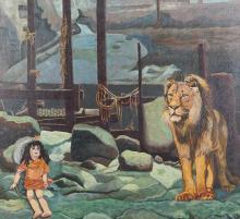 Frans de Haas (1934-2007), oil on board, Doll and lion, sig. b.r.,1974, dim. 54 x 58 cm.