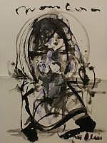 Guy Olivier (1964), brush drawing, Woman, sig.