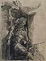 Klaas Sans (1927), etching, Graaf de Berry, sig.