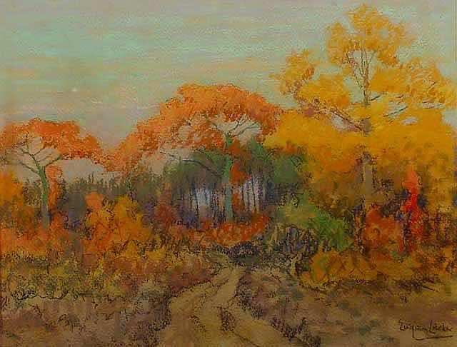 Lucker, E. (1876-1943), pastel, Forest scenery in