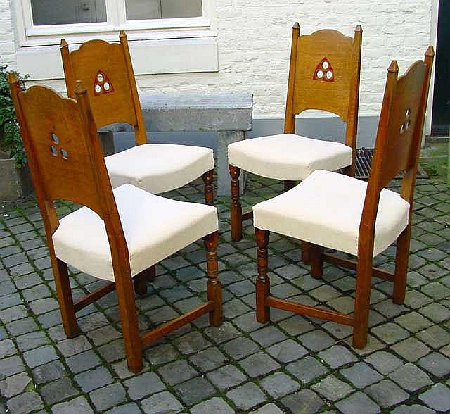 6 oak neo-gothic dining room chairs, 2 with