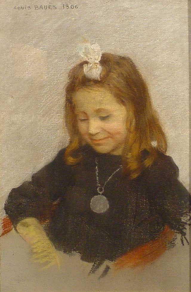 Bauës, L. (1864-1937), pastel, Girl with