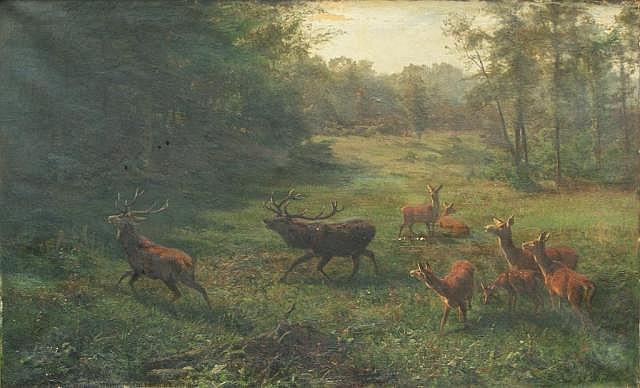 Arthur Thiele (1841 - 1919), oil on canvas, Forest