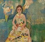 Gene Eggen (1921-2000), aquarel, Gezeten vrouw,