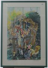 Guy Olivier (1964), mixed media, Vasteavond op zolder (Carnival in the attick), sig. b.r., dated '95
