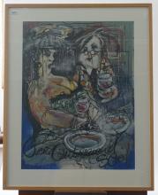 Guy Olivier (1964), mixed media, Couple drinking wine, sig. m.r., dim. 65 x 48 cm, Provenance: Landg