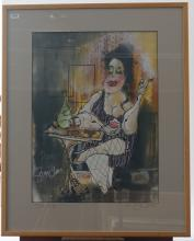 Guy Olivier (1964), mixed media, Dame pipi, sig. b.r., dated '95, dim. 61 x 45 cm, Provenance: Landg