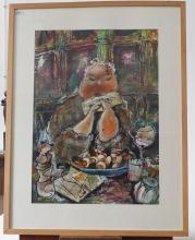 Guy Olivier (1964), mixed media, Lady, sig. b.m., dim. 63 x 47 cm, Provenance: Landgoed Altembrouck