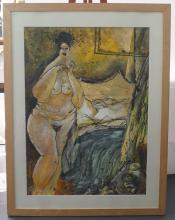 Guy Olivier (1964), mixed media, Nude lady, sig. b.l., dated '96, dim. 108 x 80 cm, Provenance: Land