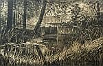 Jan Veringa (1907), woodcut, Sluice, sig. b.r. (in