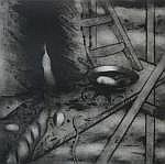 Ger Boosten (1947), drypoint etching, Oeuf sur le