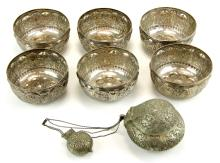 Six finger bowls and a base metal betel nut and chalk box