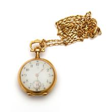 An antique 14k gold Art Nouveau lady's pocket watch