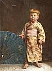 Jan Hendrick Neuman (1819-1898) Kindje in kimono