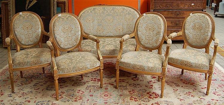 Canap et quatre fauteuils cabriolets dossier m daillon de - Canape cuir et bois rustique ...