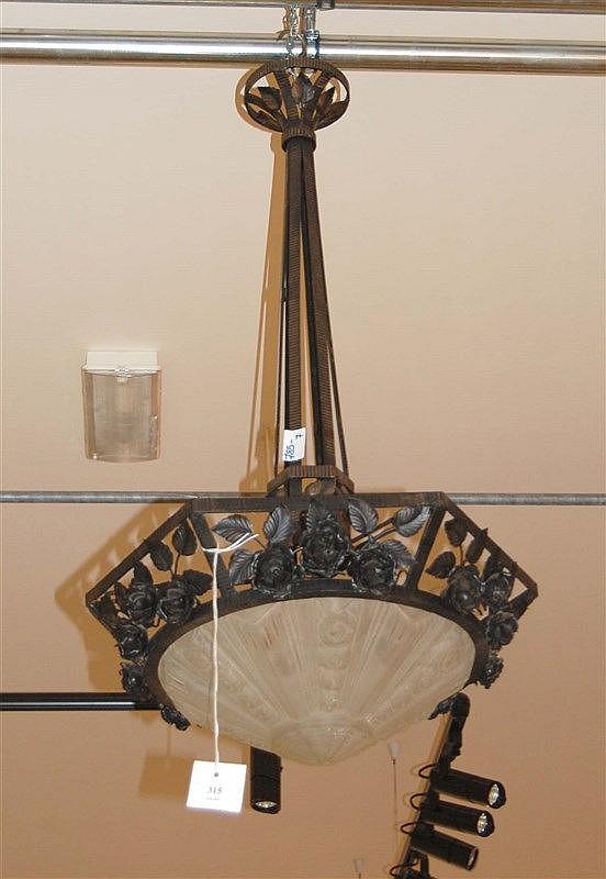 lustre art d co coupole en verre moul d poli monture e. Black Bedroom Furniture Sets. Home Design Ideas