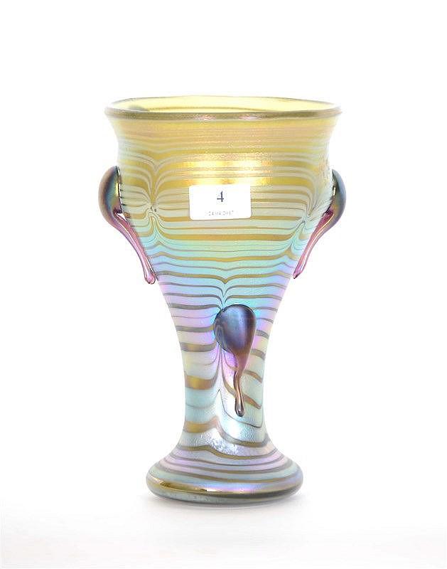 Vase en verre iris loetz d cor appliqu chaud for Decoration vase en verre