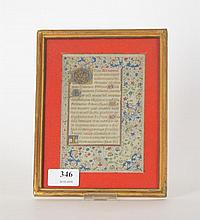 Enluminure sur vélin du XVIème siècle - Dimensions : 15 cm x 10 cm