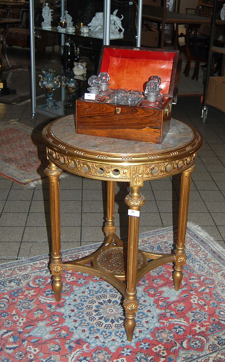 Table de salon ronde en bois dor sculpt de style louis xvi - Grande table ronde bois ...