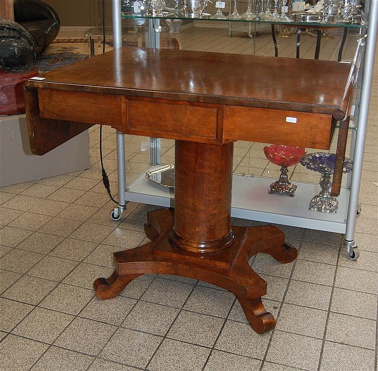table rabats en bois poli f t central. Black Bedroom Furniture Sets. Home Design Ideas