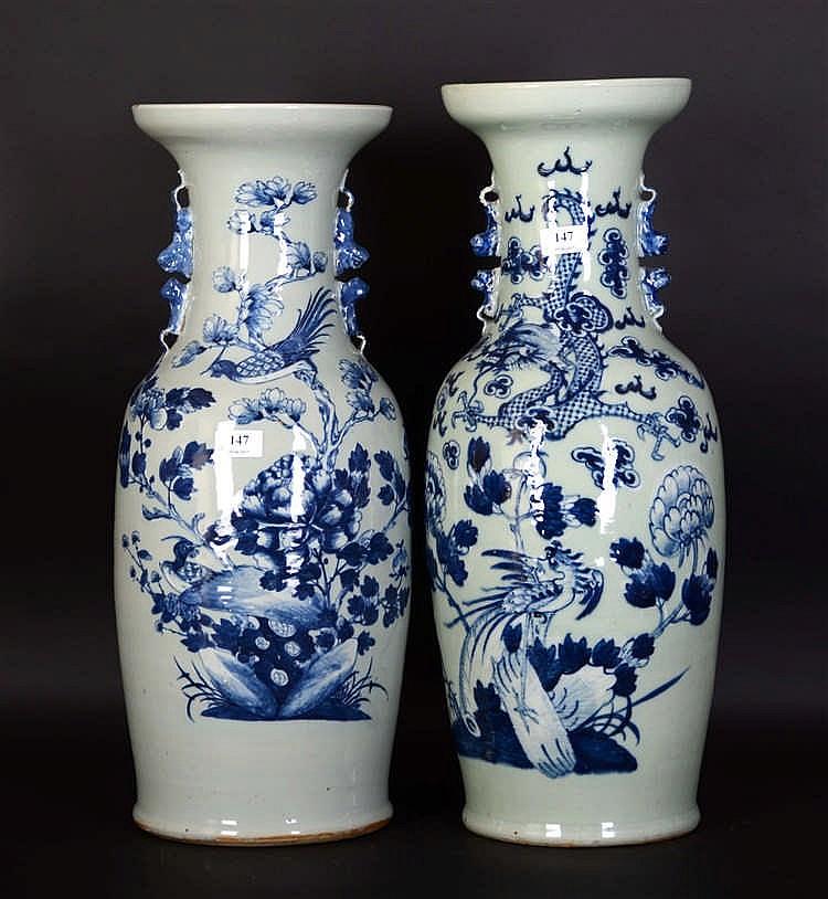 Chinepaire de vases en porcelaine blanche et bleue d cor f - Applique porcelaine blanche ...