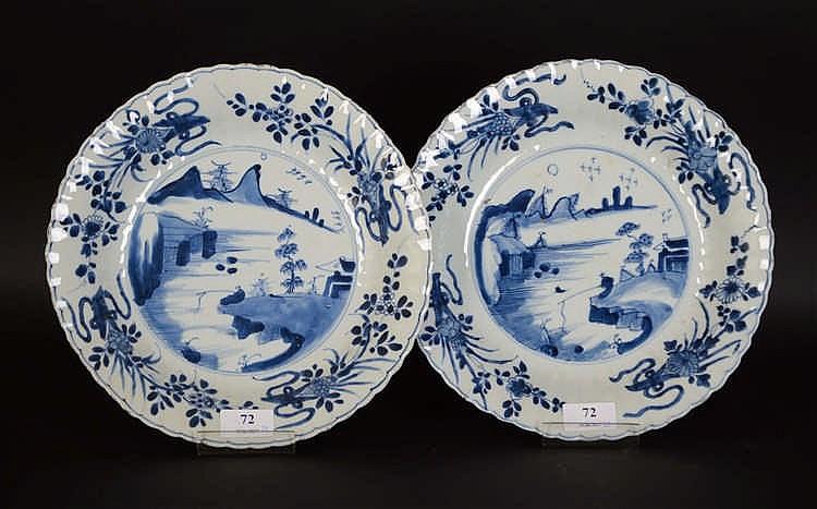 Chinepaire de plats profonds lob s en porcelaine blanche et - Applique porcelaine blanche ...
