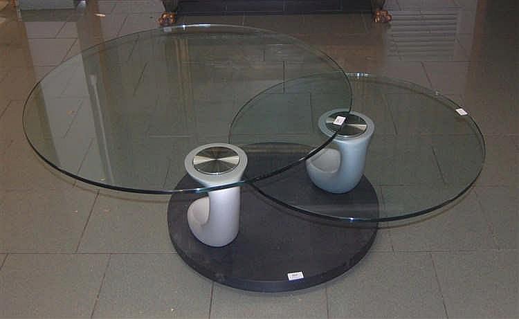 Table naos papillon de salon deux tablettes pivotantes - Table de salon en verre ...