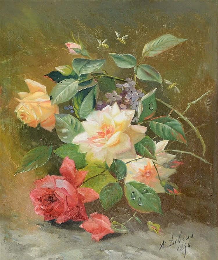 Debrus a huile sur toile nature morte aux fleurs et insec - Initiatives fleurs et nature ...