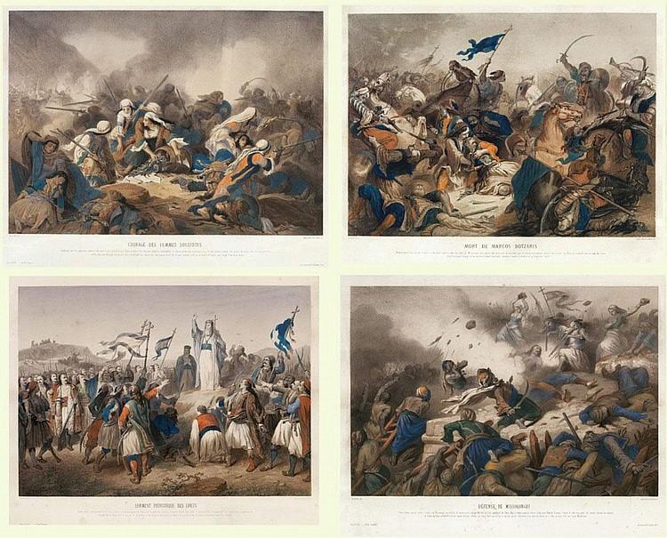 Alphonse-Marie de Neuville (1836-1885)  a) Courage des femmes Souliotes b) Serment patriotique des Grecs c) Mort de Marcos Botzaris d) Défense de Missolonghi