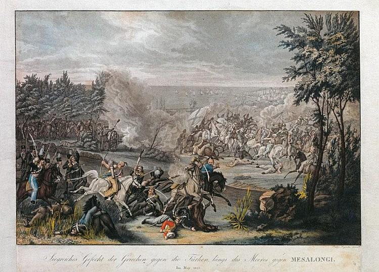 Johann Lorenz Rugendas (1775-1826)  Siegreiches Gefecht der Griechen gegen die T ϋ rken längs des Meeres gegen Mesalongi, im May 1825