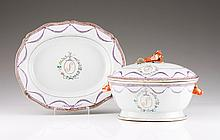 A scalloped tureen with cover and dish