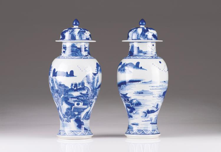 A pair of vases with cover