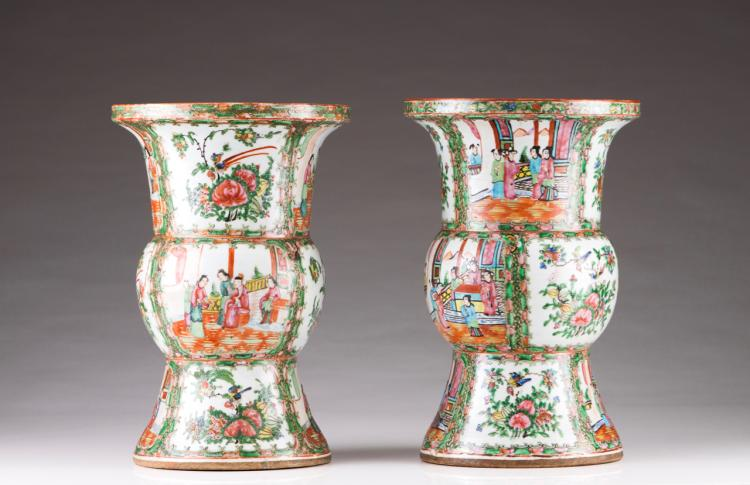 A pair of Mandarin beaker vases