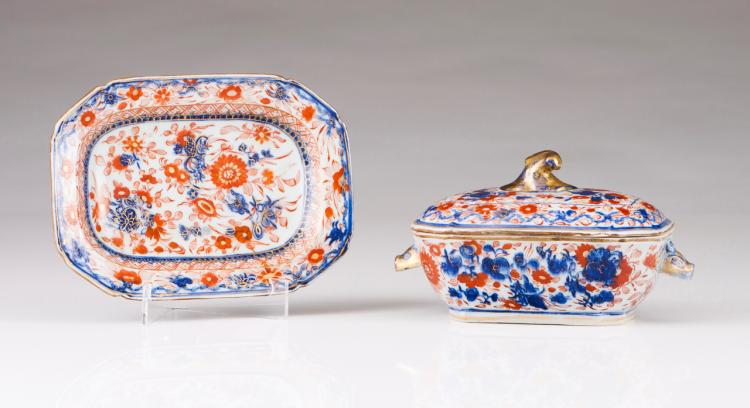 A small tureen with cover and dish