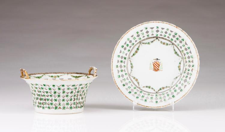 An important pierced basket and plate