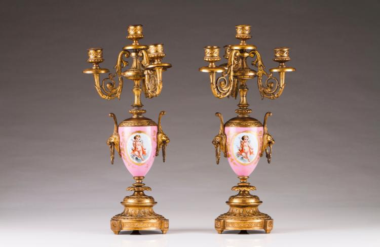 A pair of four-light candelabra