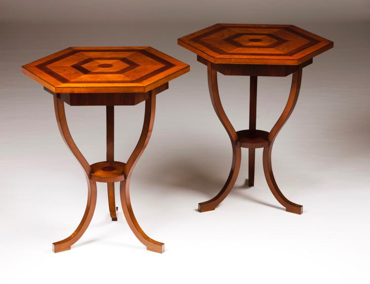 A pair of Louis XVI style hexagonal tables